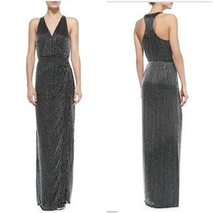 Parker Theron Beaded Racerback Wrap Formal Dres